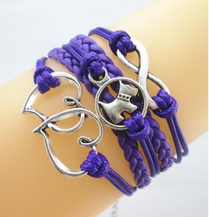 Armband hond infinity paars