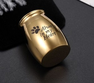 mini urn hond RVS goud