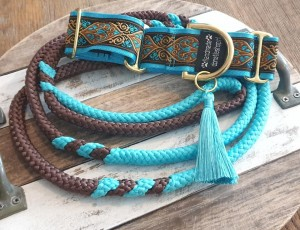 Martingale band 3,8 cm breed blauw-bruin